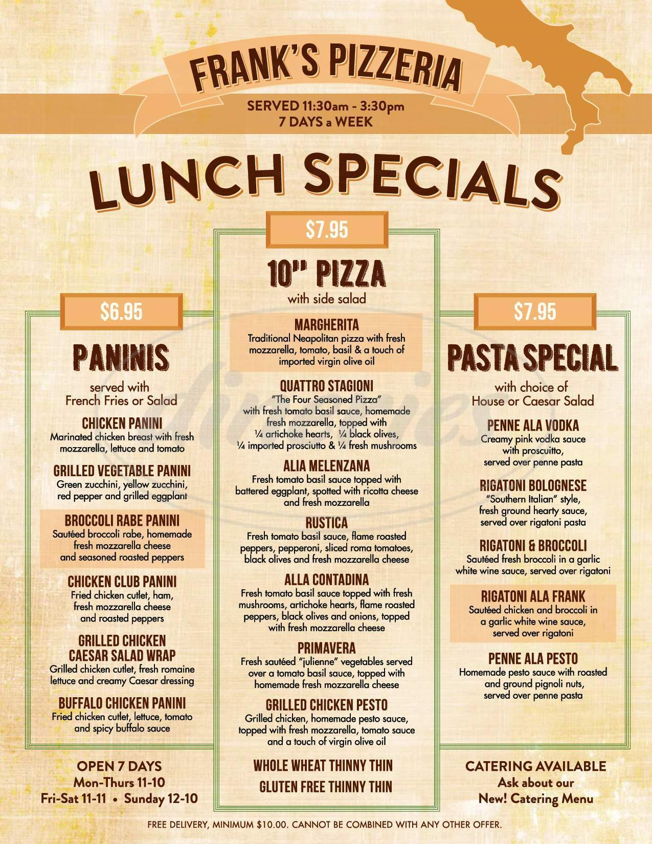menu for Frank's Pizza Restaurant