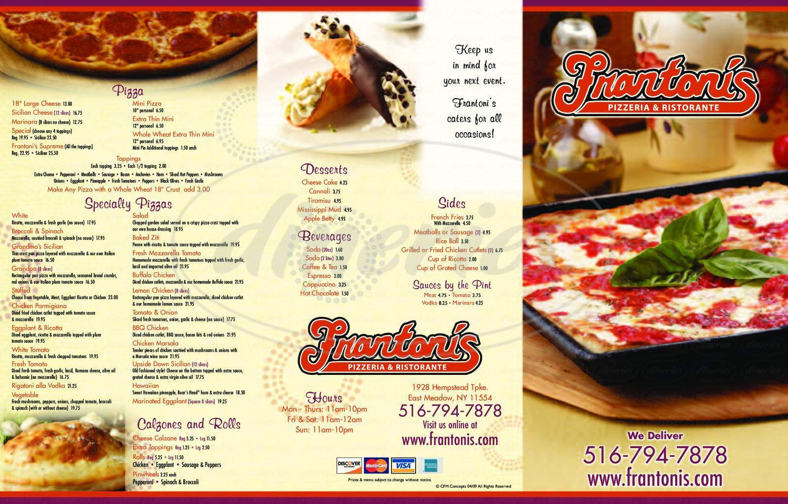 menu for Frantoni's Pizza