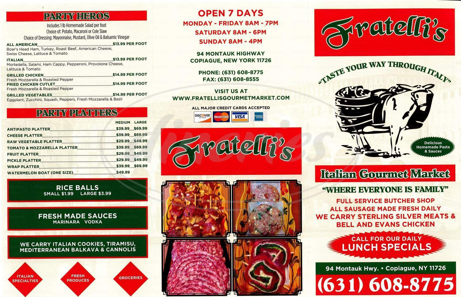 menu for Fratelli's Italian Gourmet Market