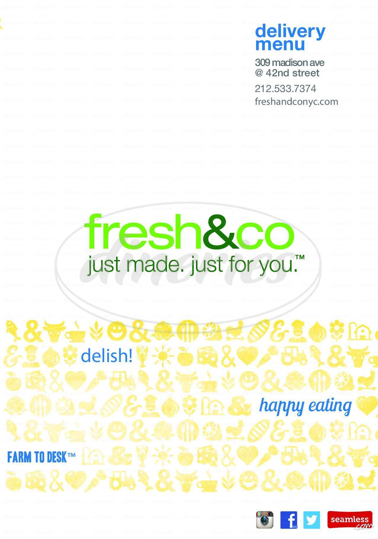 menu for Fresh & Co