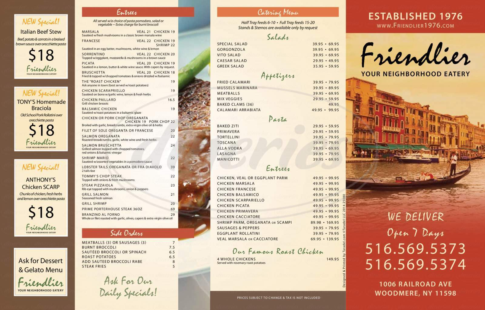menu for Friendlier Restaurant & Pizzeria