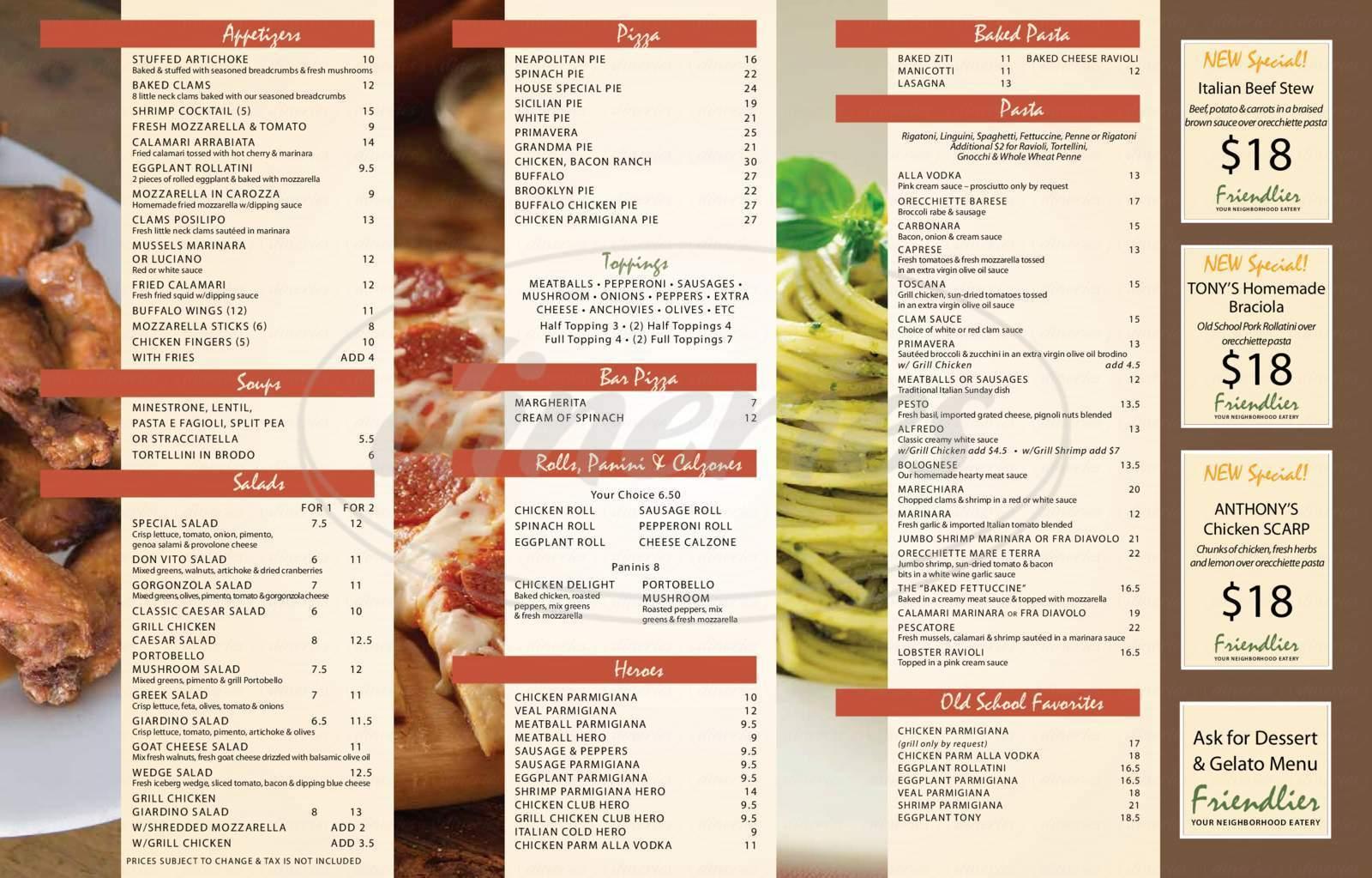 menu for Friendlier Restaurant & Pizzeria