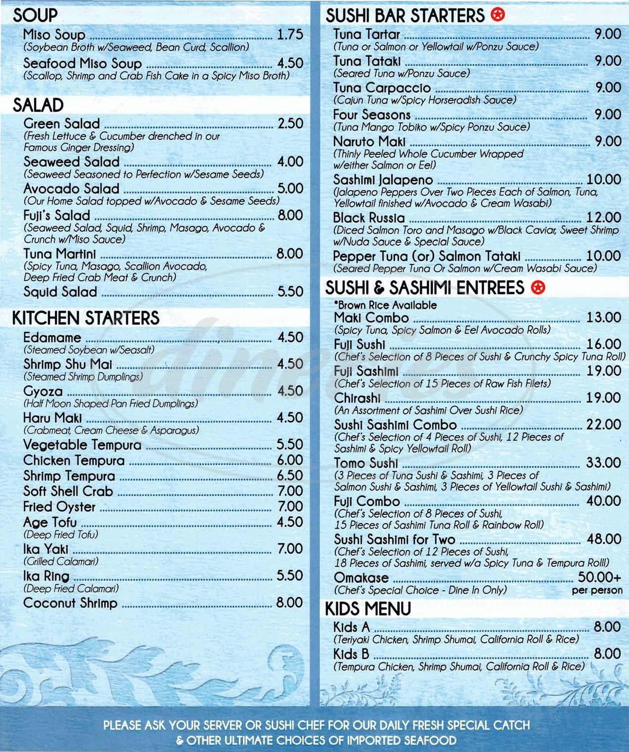 menu for Fuji Grill III