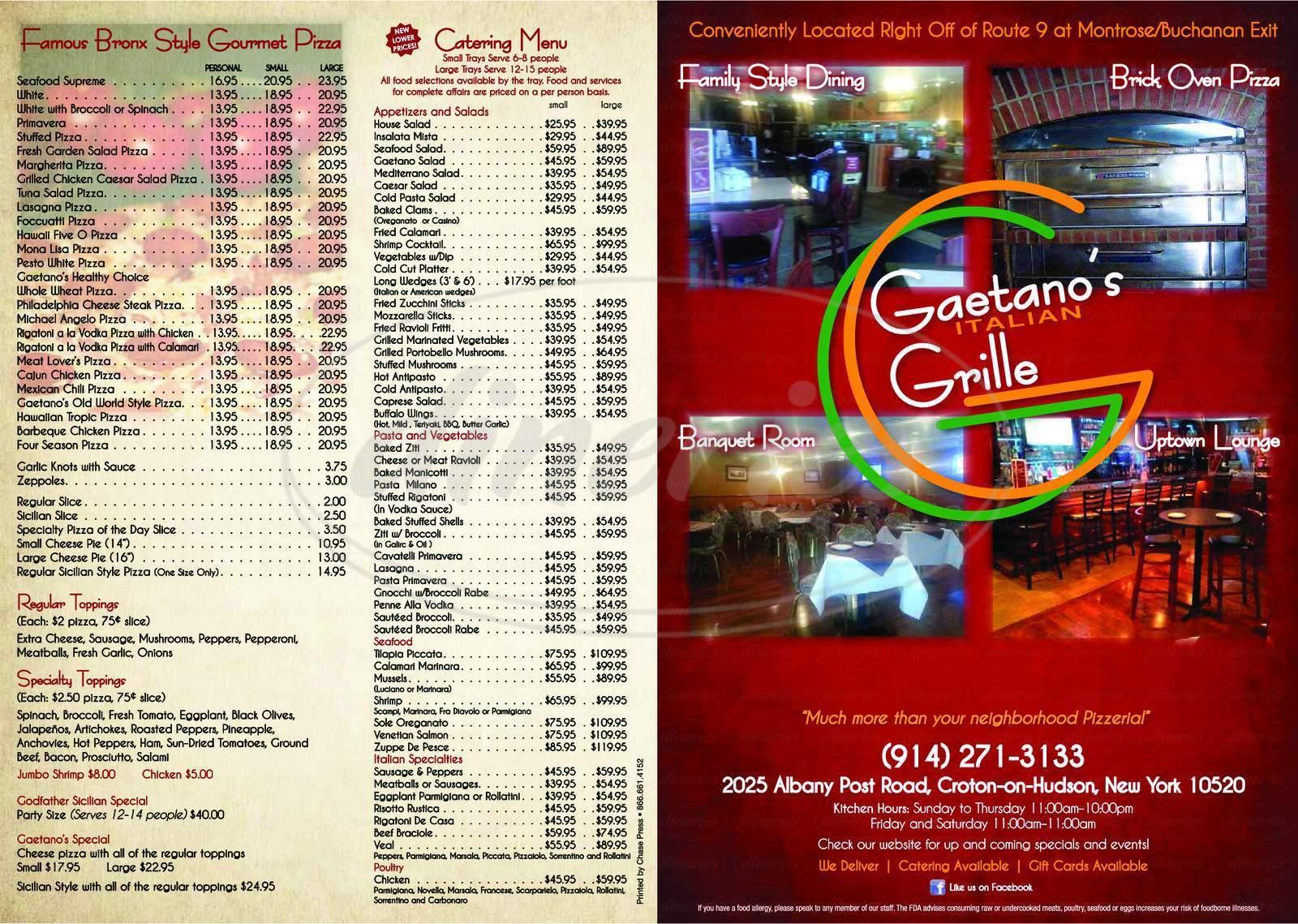 menu for Gaetanos Grill