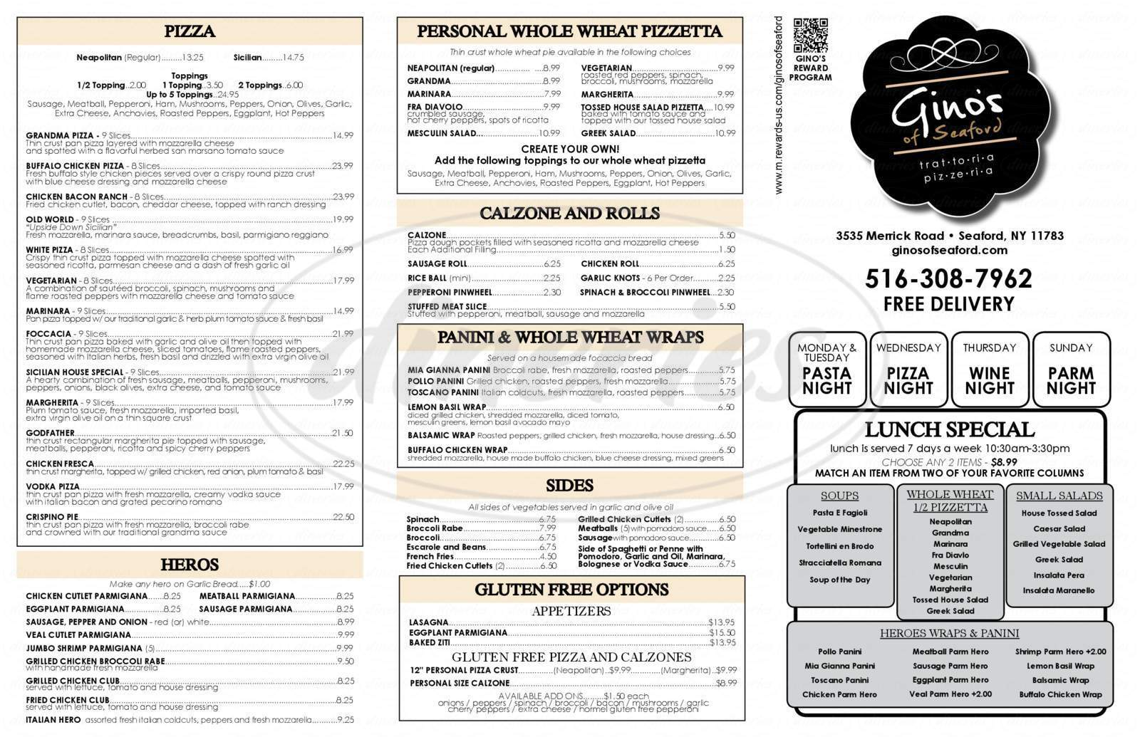menu for Gino's Pizza