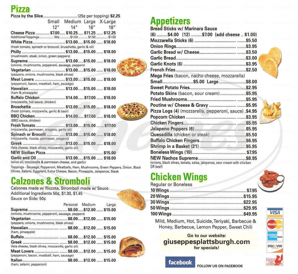 menu for Giuseppe's Pizza Shop