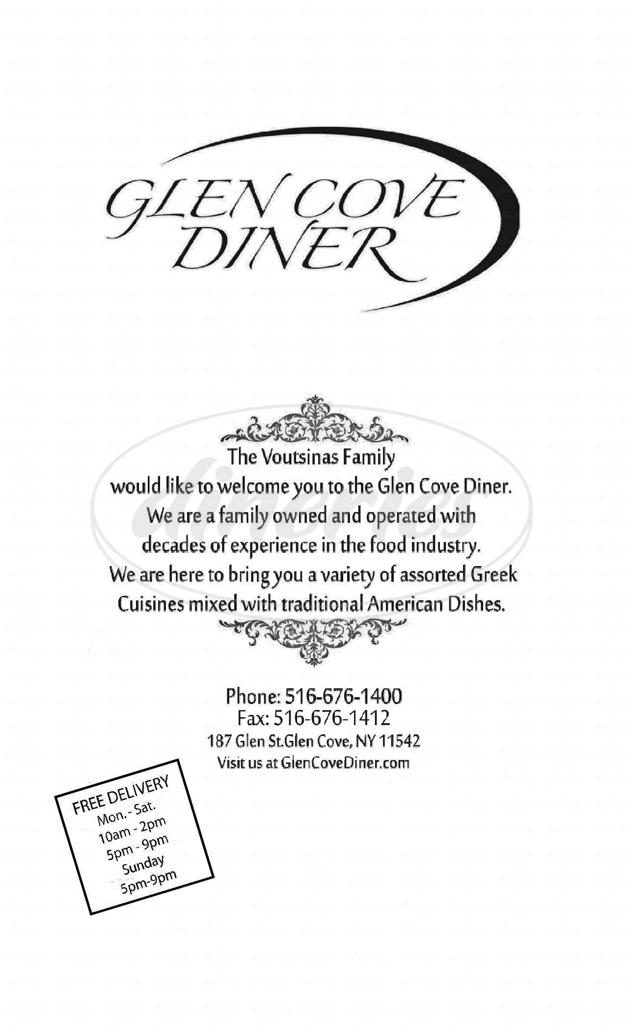 menu for Glen Cove Diner