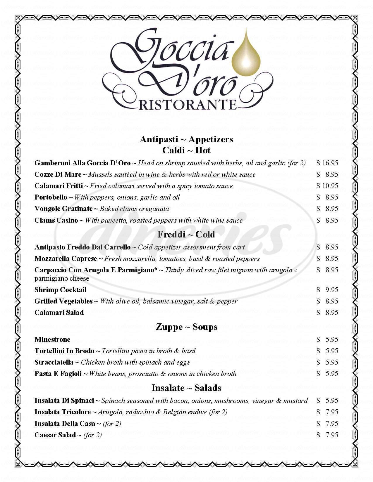 menu for Goccia D'oro Ristorante
