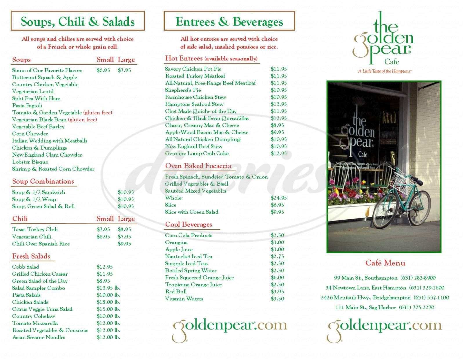 menu for The Golden Pear Cafe