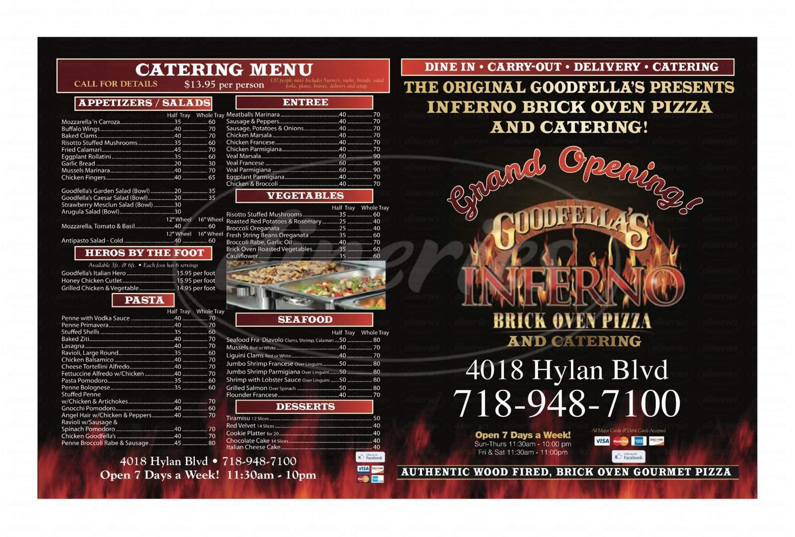 menu for Goodfellas Inferno
