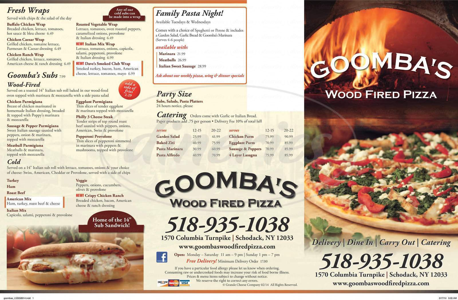 menu for Goomba's Wood Fired Pizza