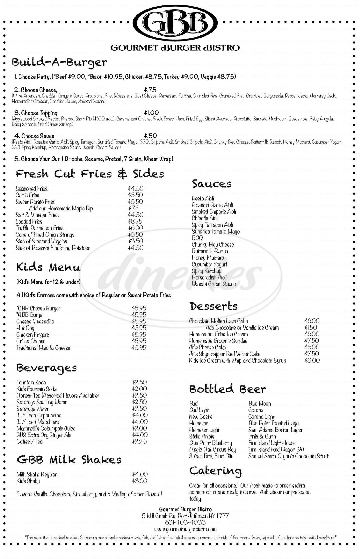 menu for Gourmet Burger Bistro