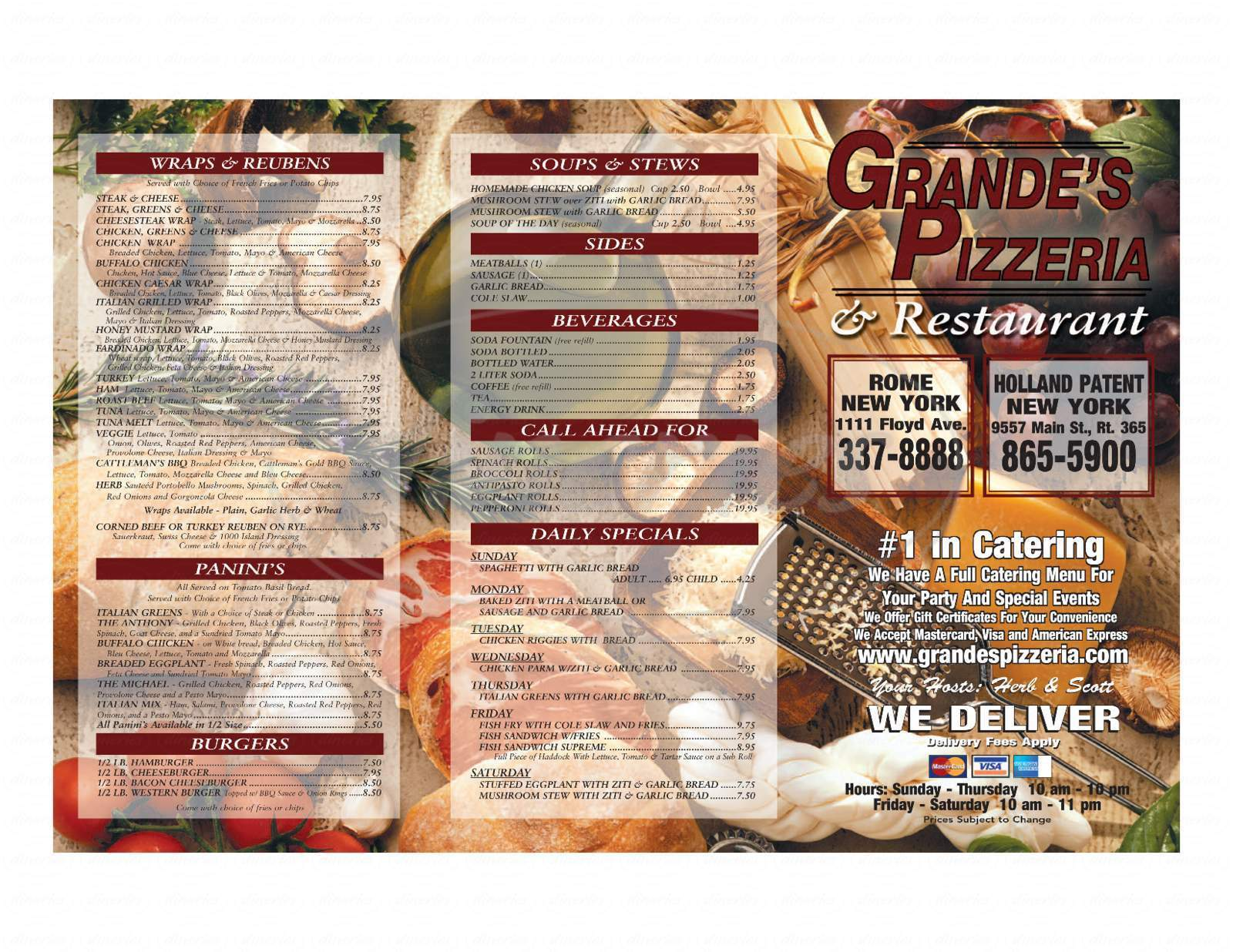 menu for Grandes pizzeria and Restaurant