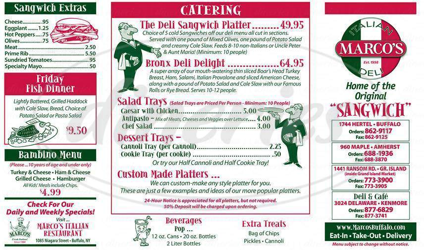 menu for Marco's Italian Deli