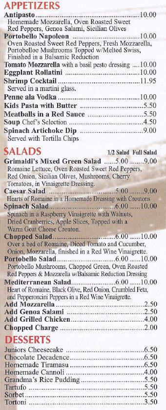 menu for Grimaldi's Pizzeria