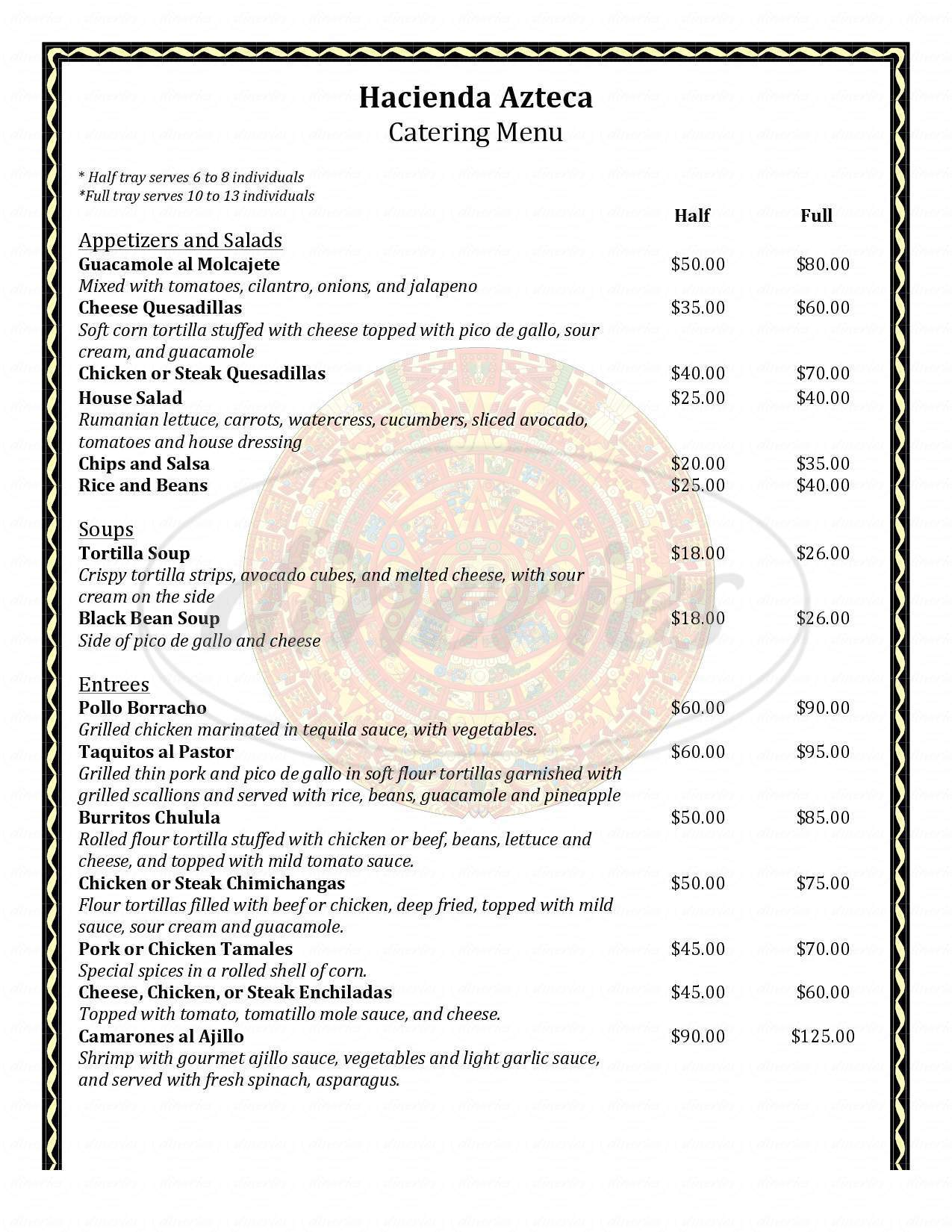 menu for Hacienda Azteca