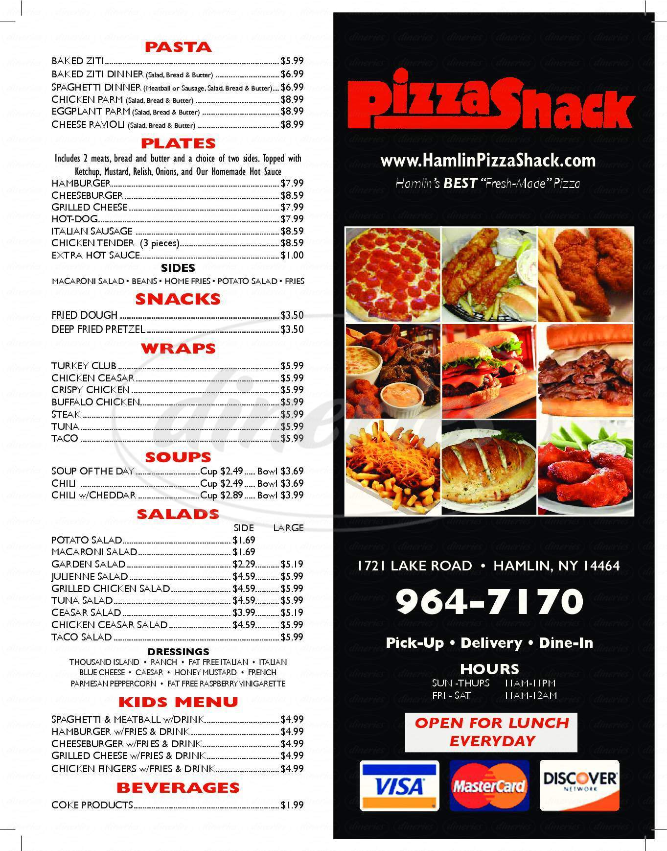 menu for Pizza Shack