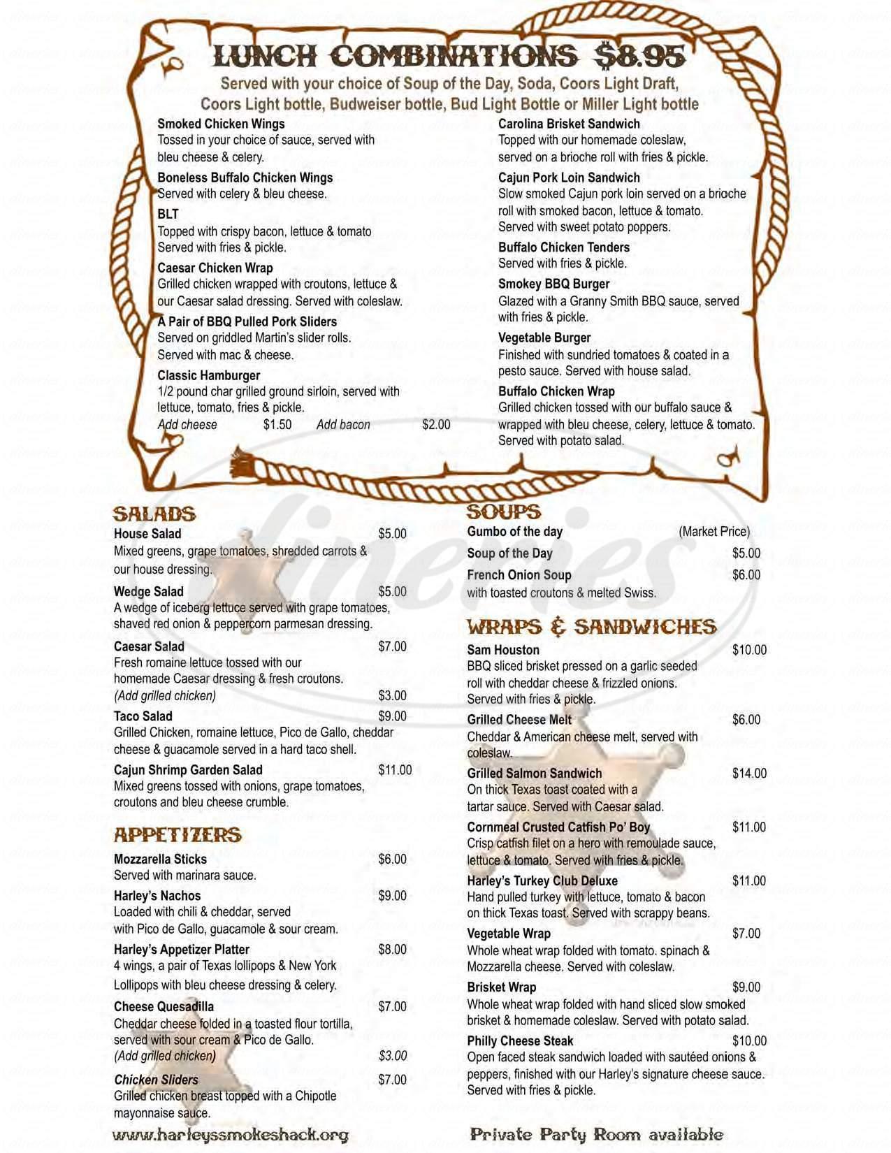 menu for Harley's Smokeshack