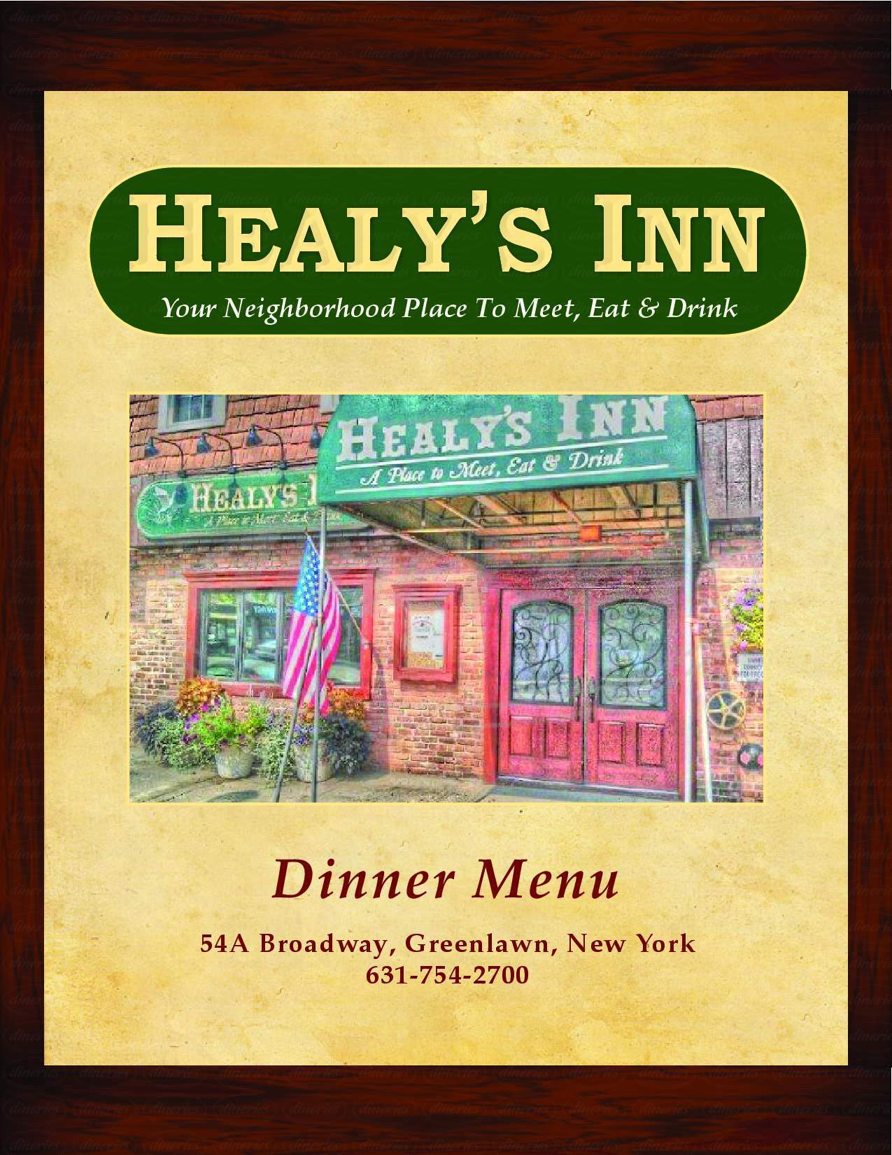 menu for Healy's Inn