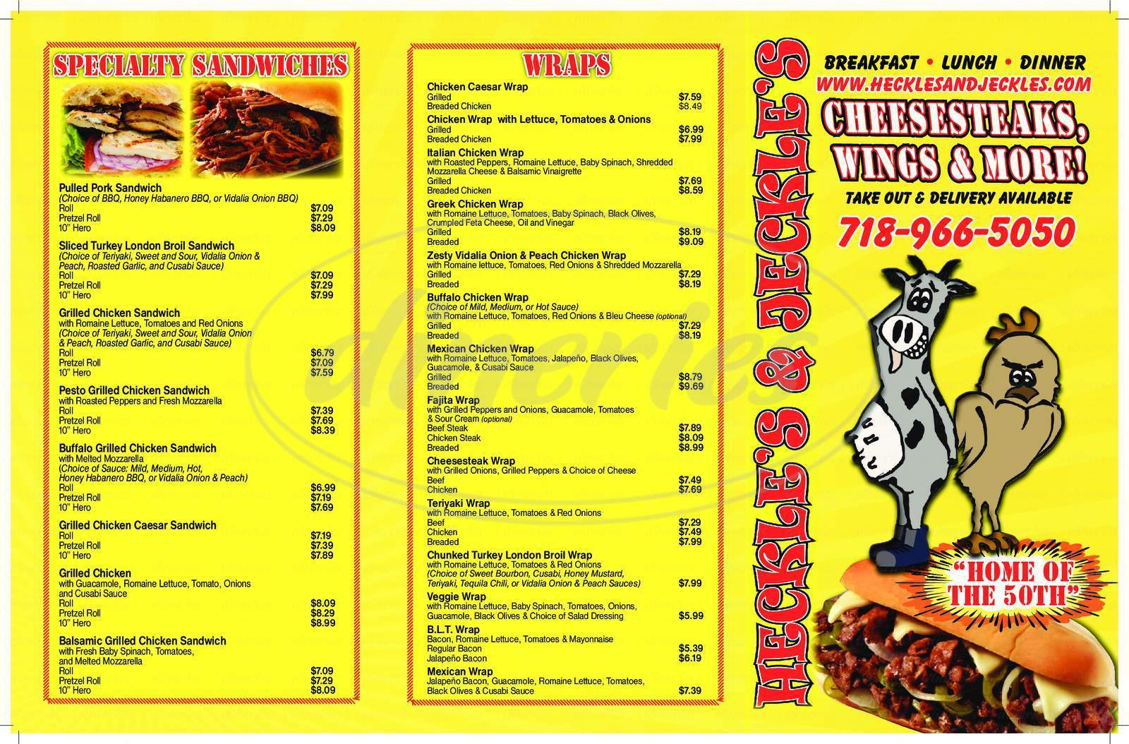 menu for Heckle's and Jeckle's