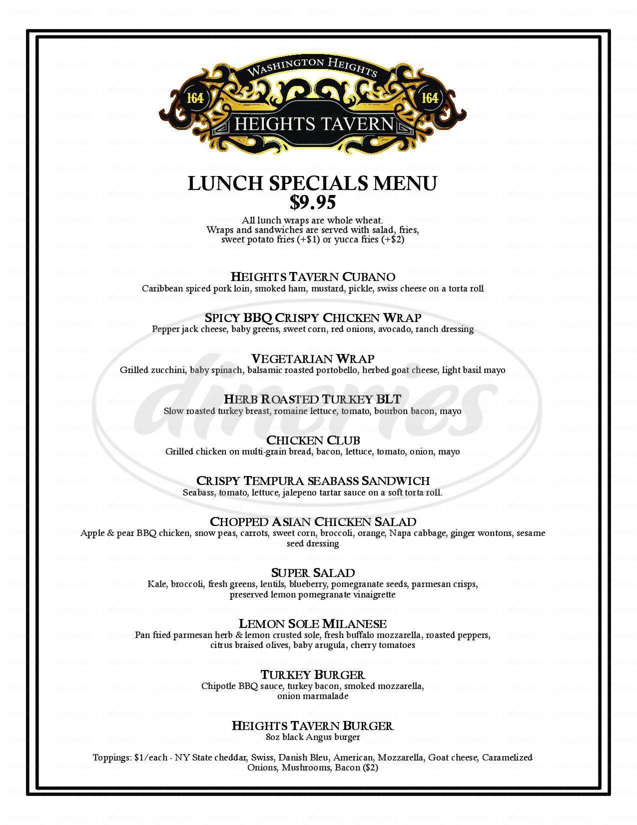 menu for Heights Tavern