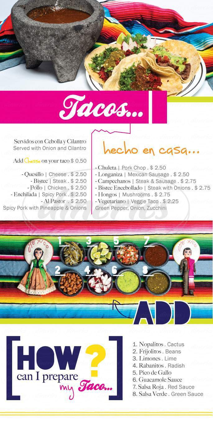 menu for Homemade Taqueria