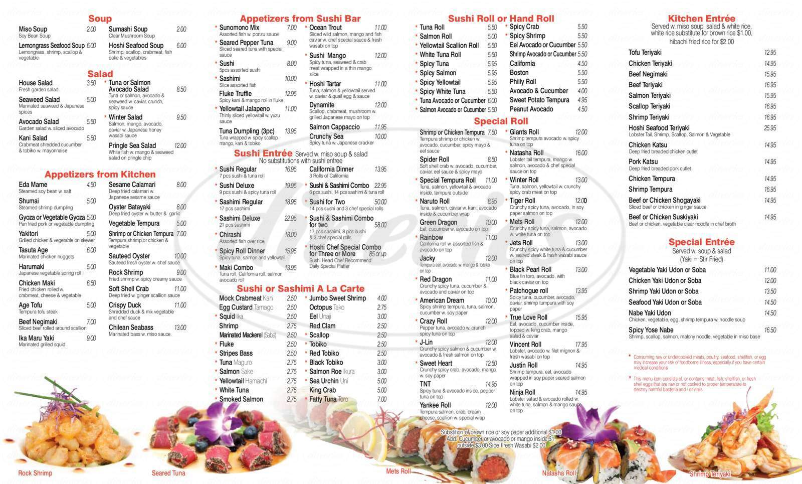 menu for Hoshi Sushi & Hibachi