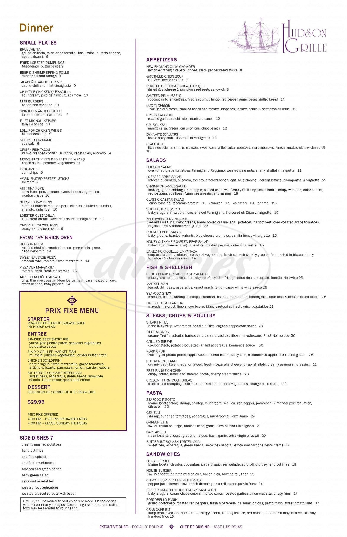 menu for Hudson Grille