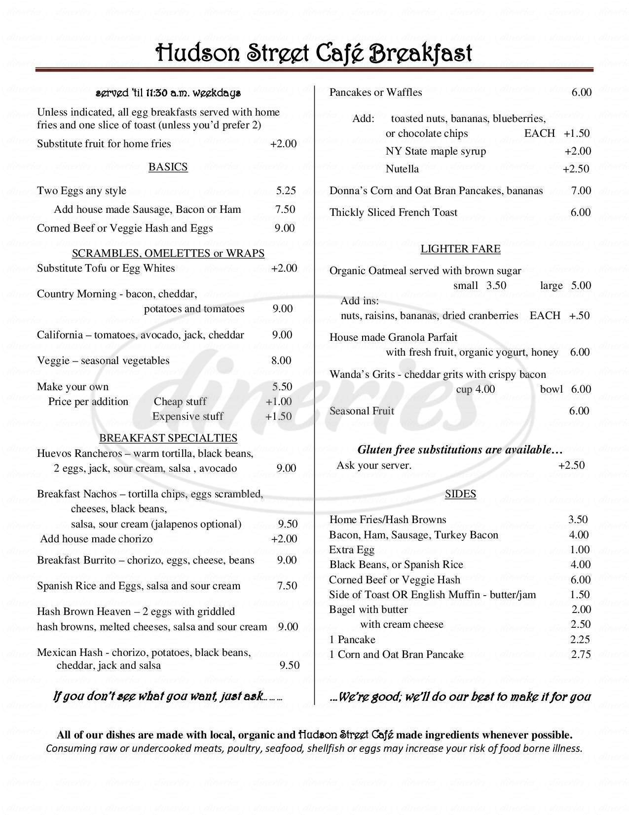 menu for Hudson Street Cafe