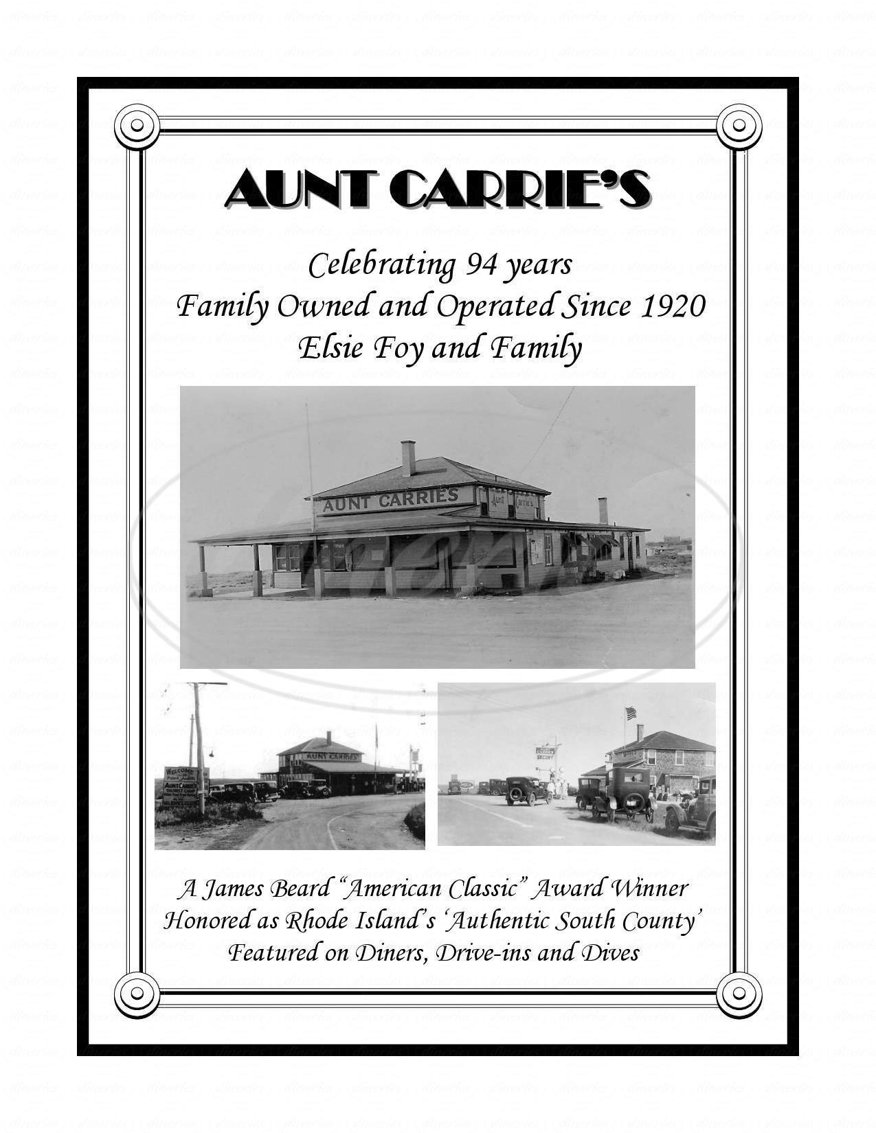 menu for Aunt Carrie's Restaurant