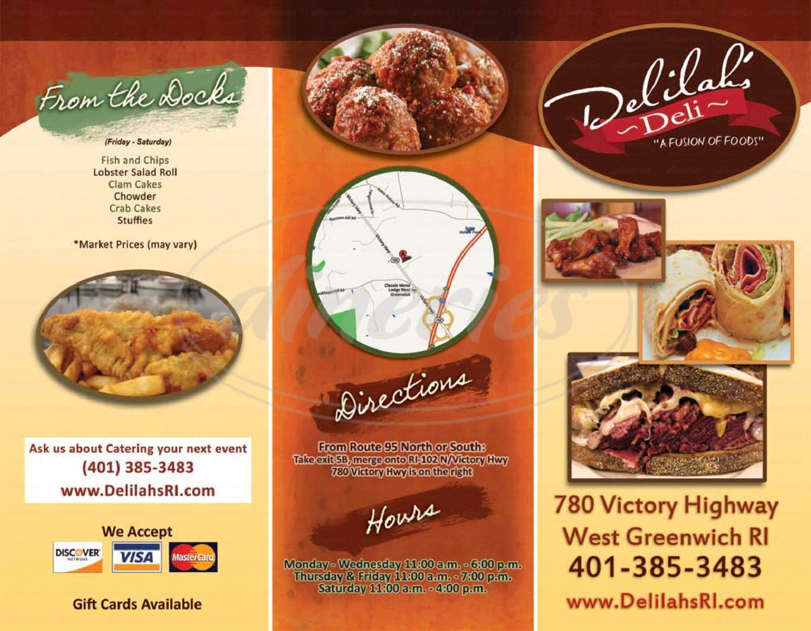 menu for Delilah's Deli