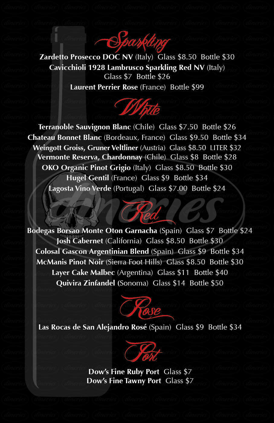 menu for Diego's