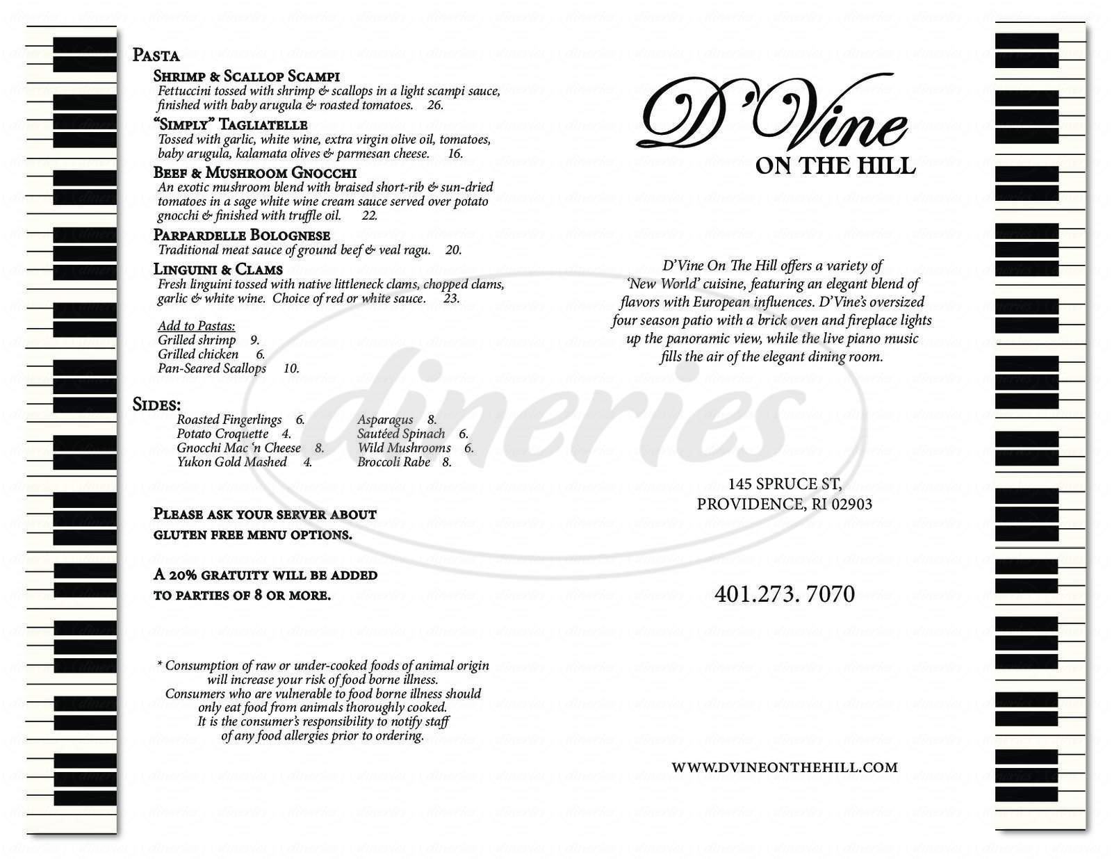 menu for D'Vine On The Hill