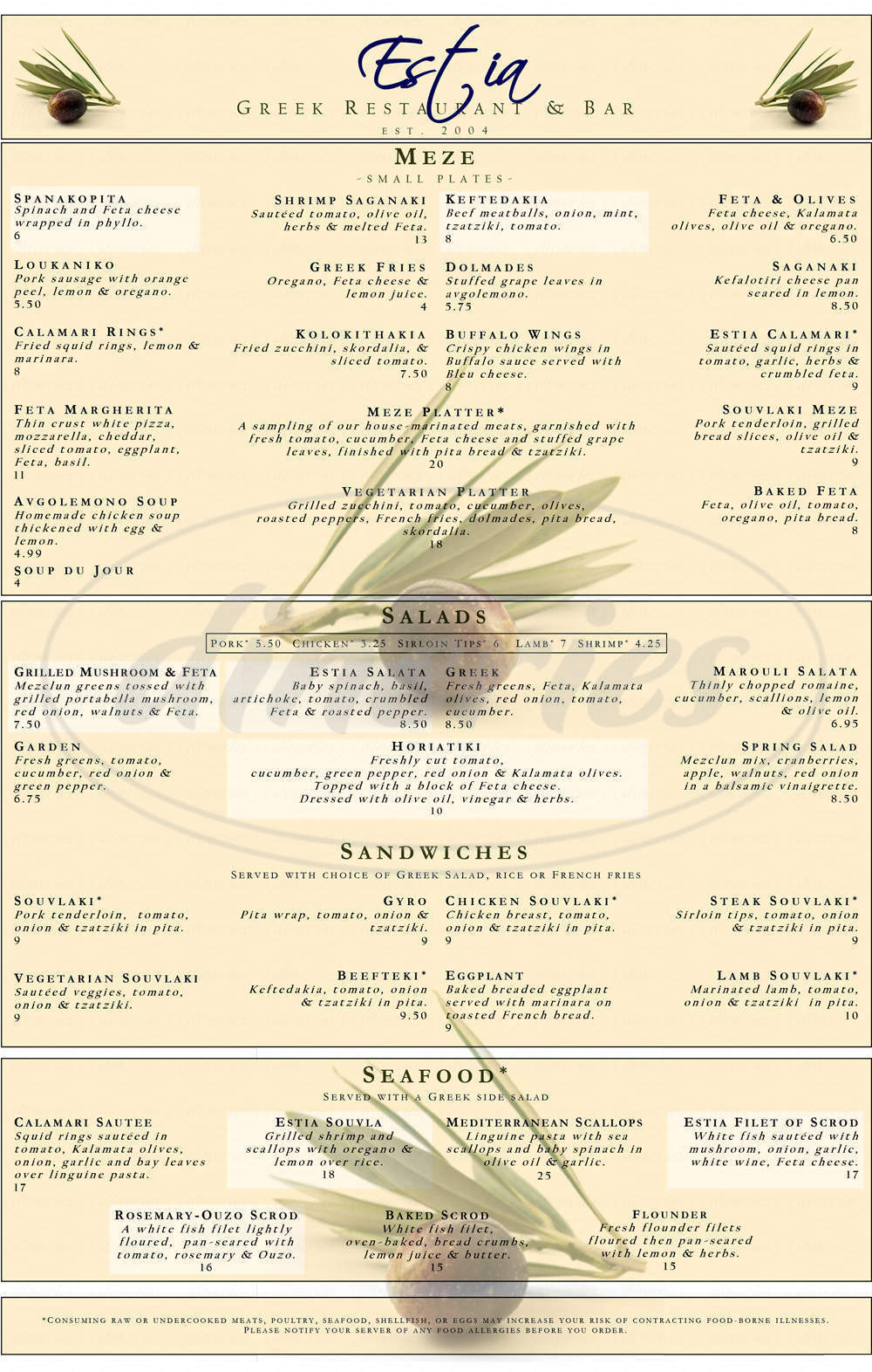 menu for Estia Restaurant