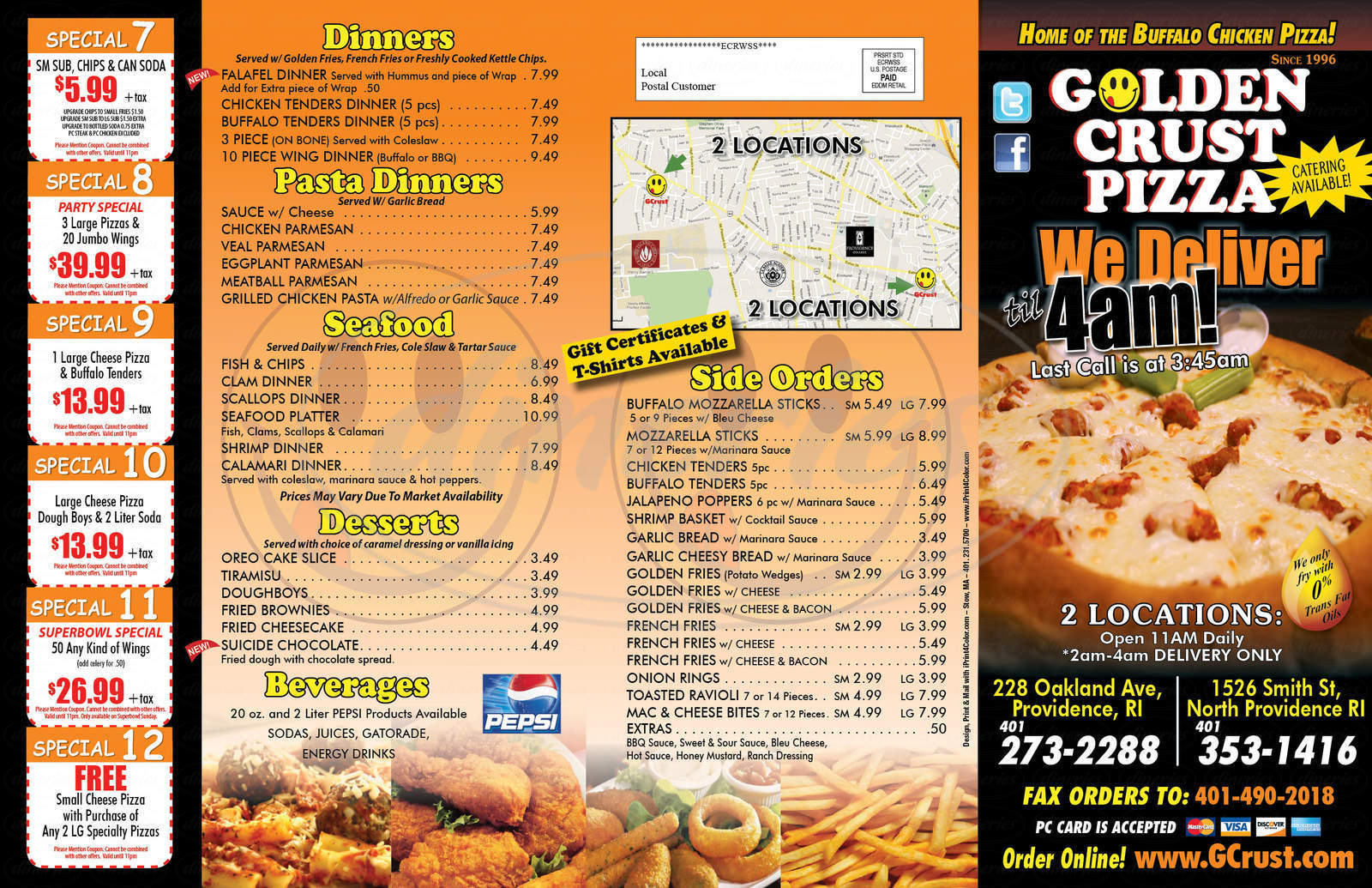 menu for Golden Crust Pizza
