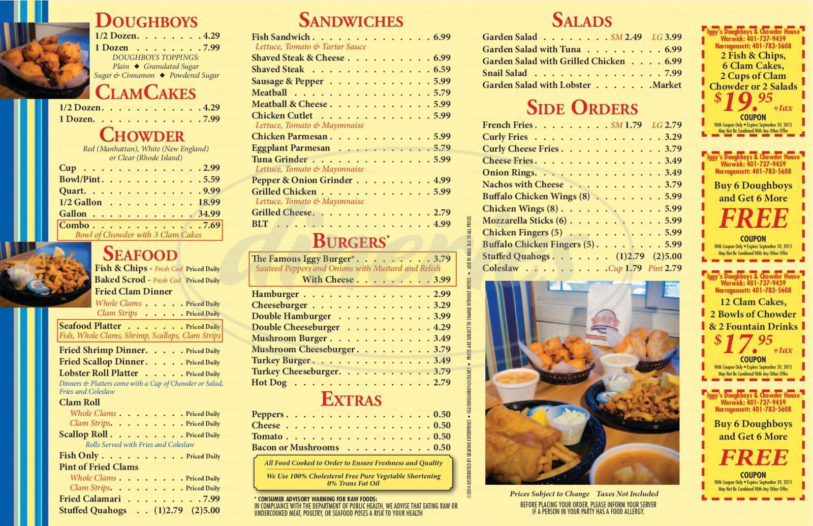 menu for Iggy's Doughboys & Chowder House