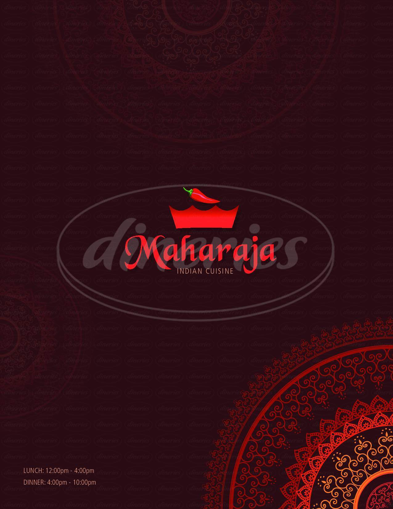 menu for Maharaja