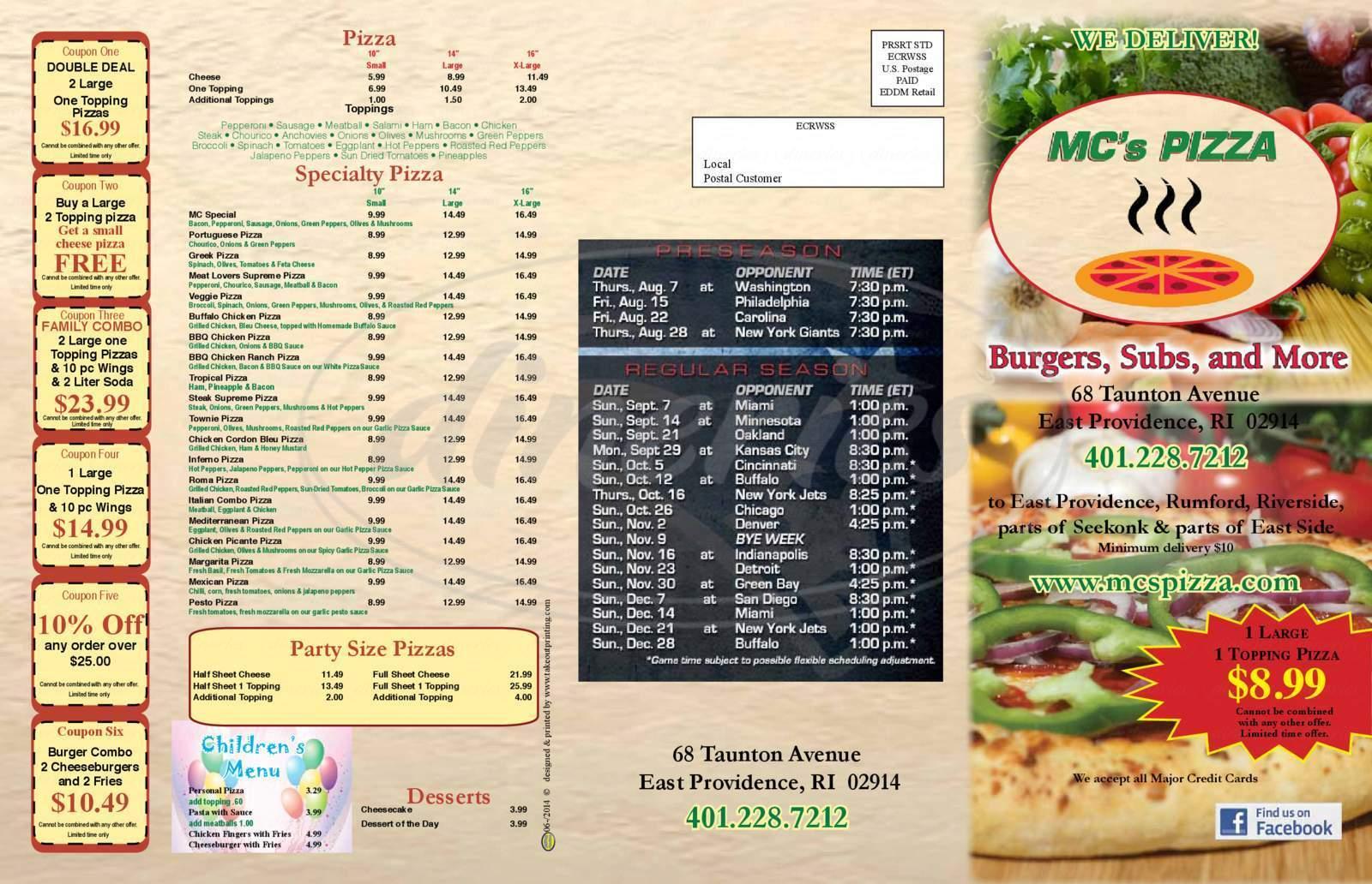 menu for MC's Pizza
