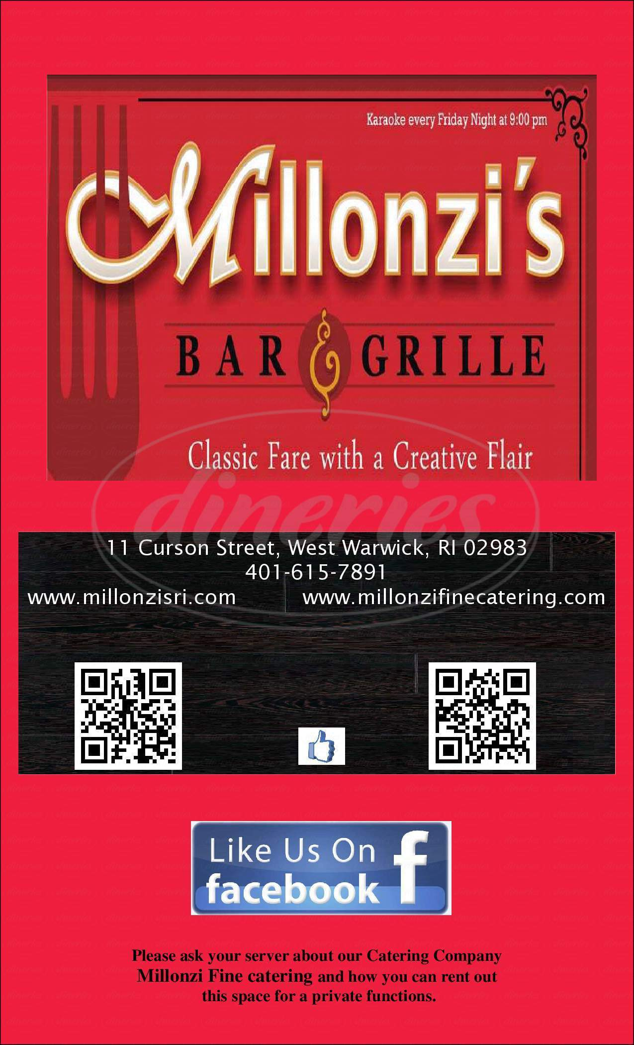 menu for Millonzi's Bar and Grille