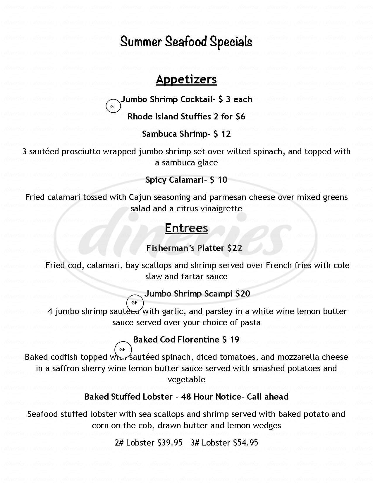 menu for Pinelli's Gourmet Deli