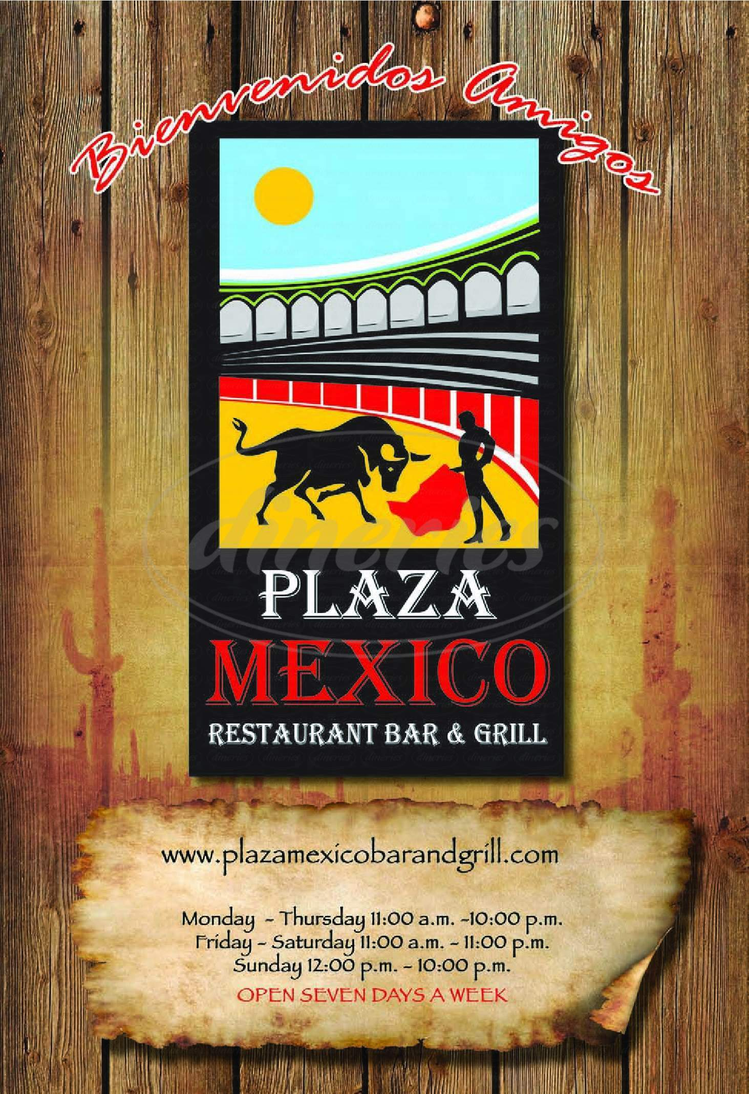 menu for Plaza Mexico