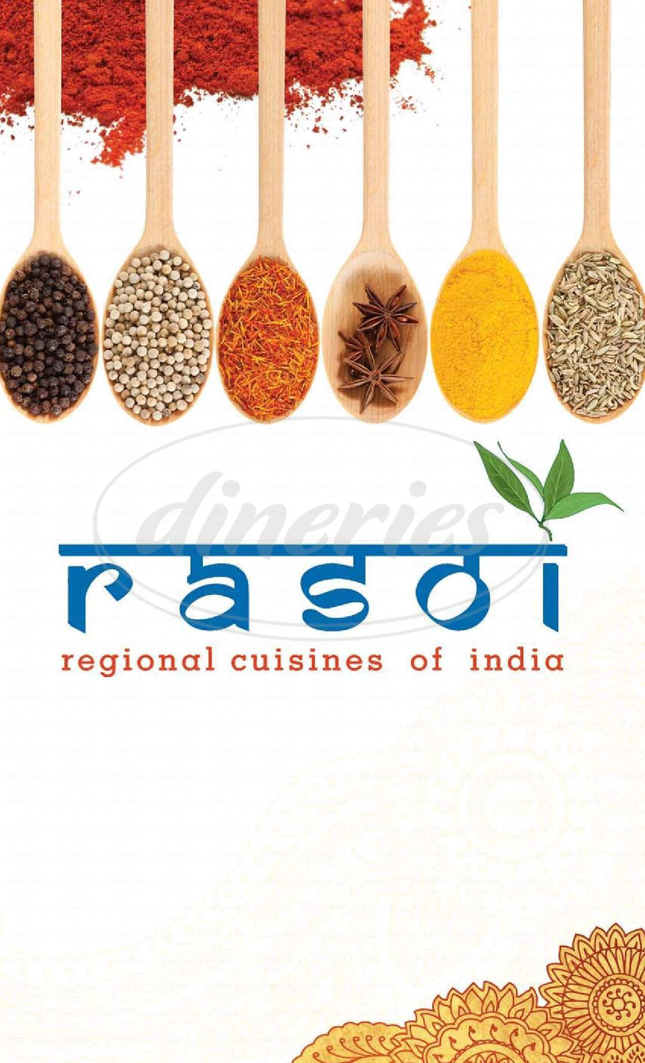 menu for Rasoi
