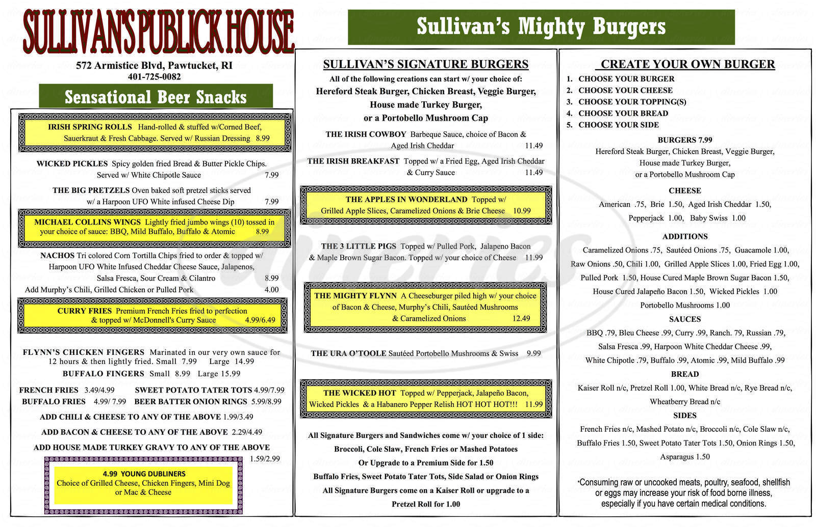 Big menu for Sullivan's Publick House, Pawtucket