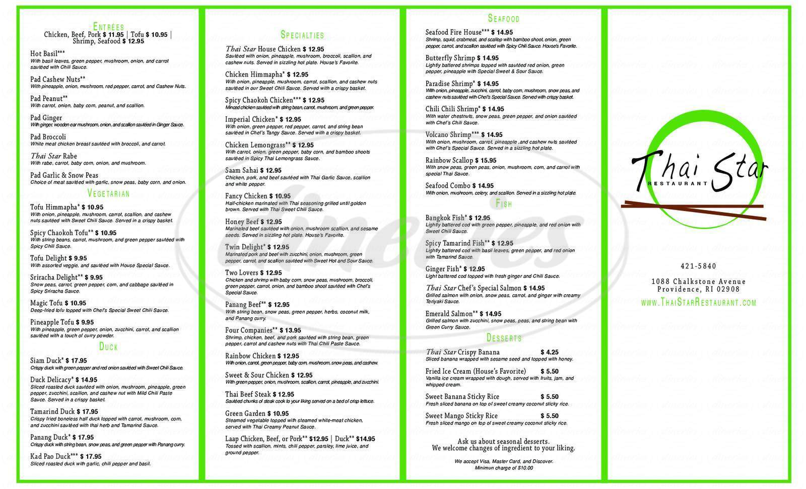 menu for Thai Star Restaurant