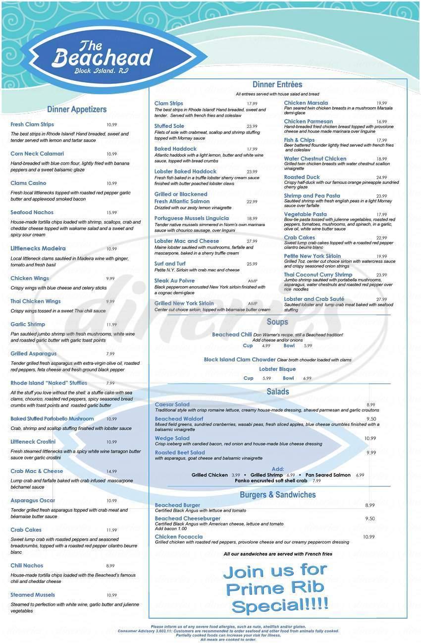 menu for The Beachhead