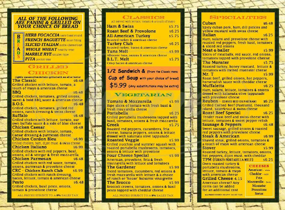 menu for Panini Grill
