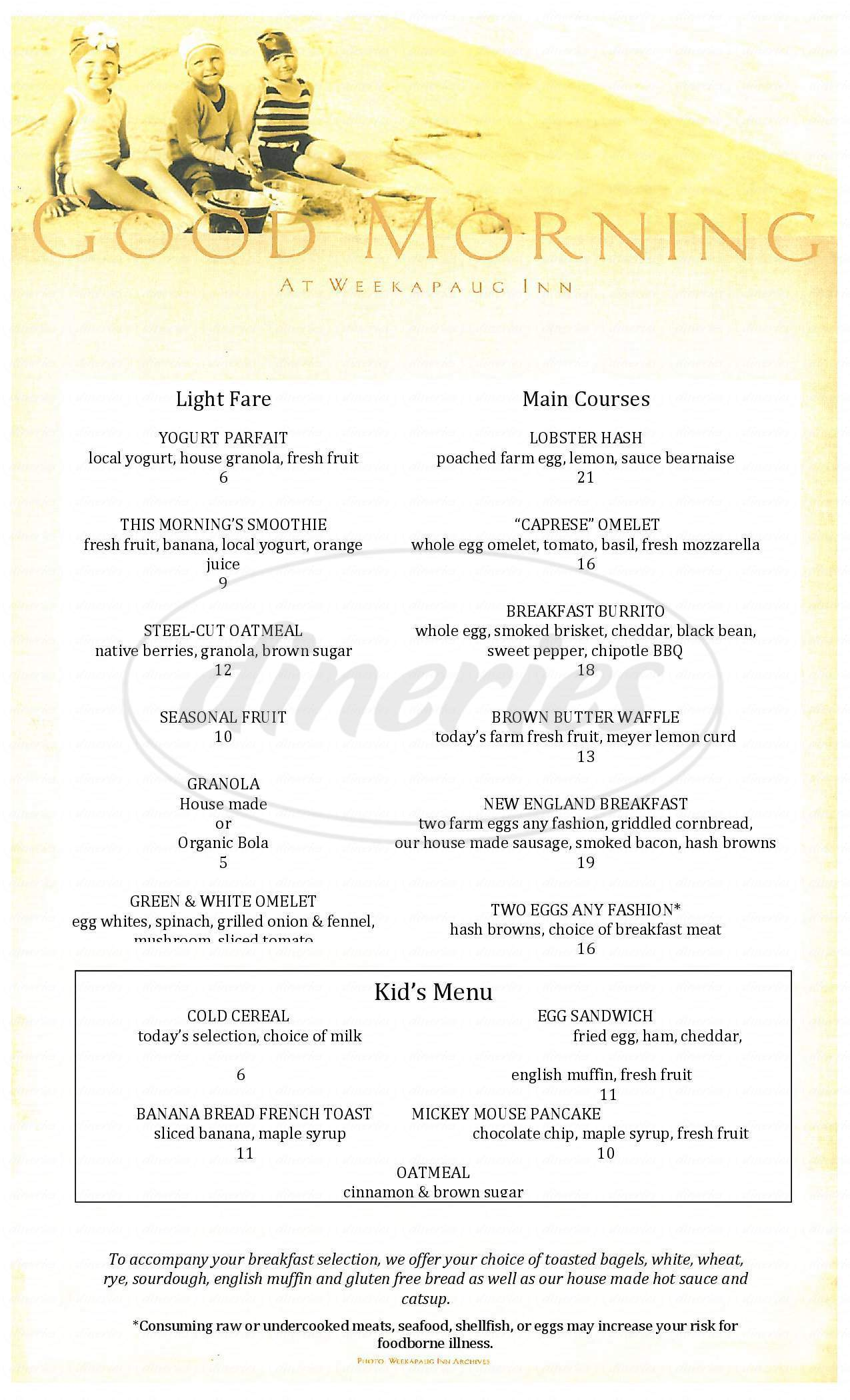 menu for The Restaurant @ the Weekapaug Inn