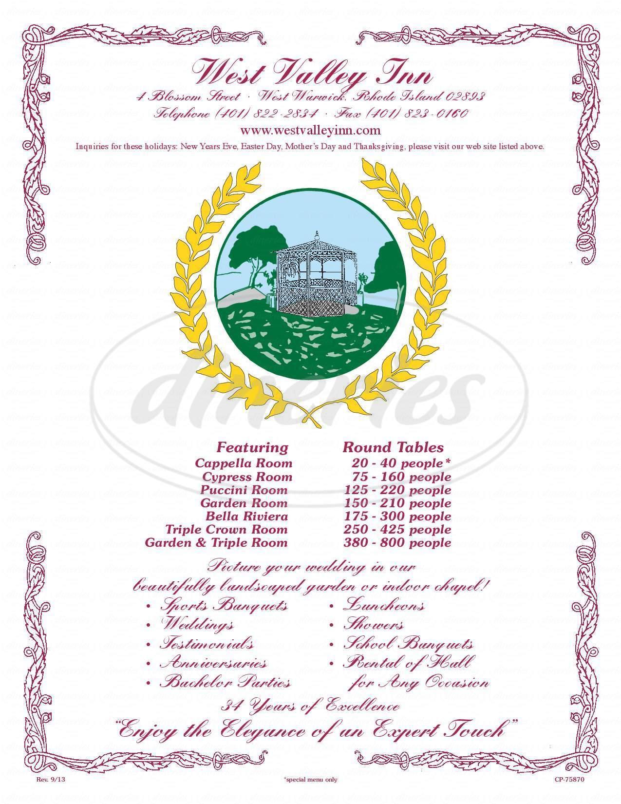 menu for West Valley Inn