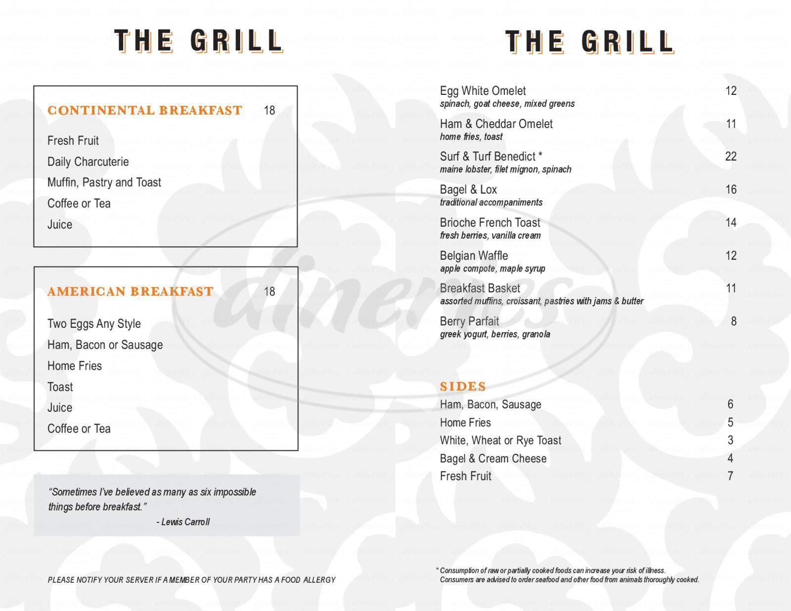menu for The Grill At Forty 1 North
