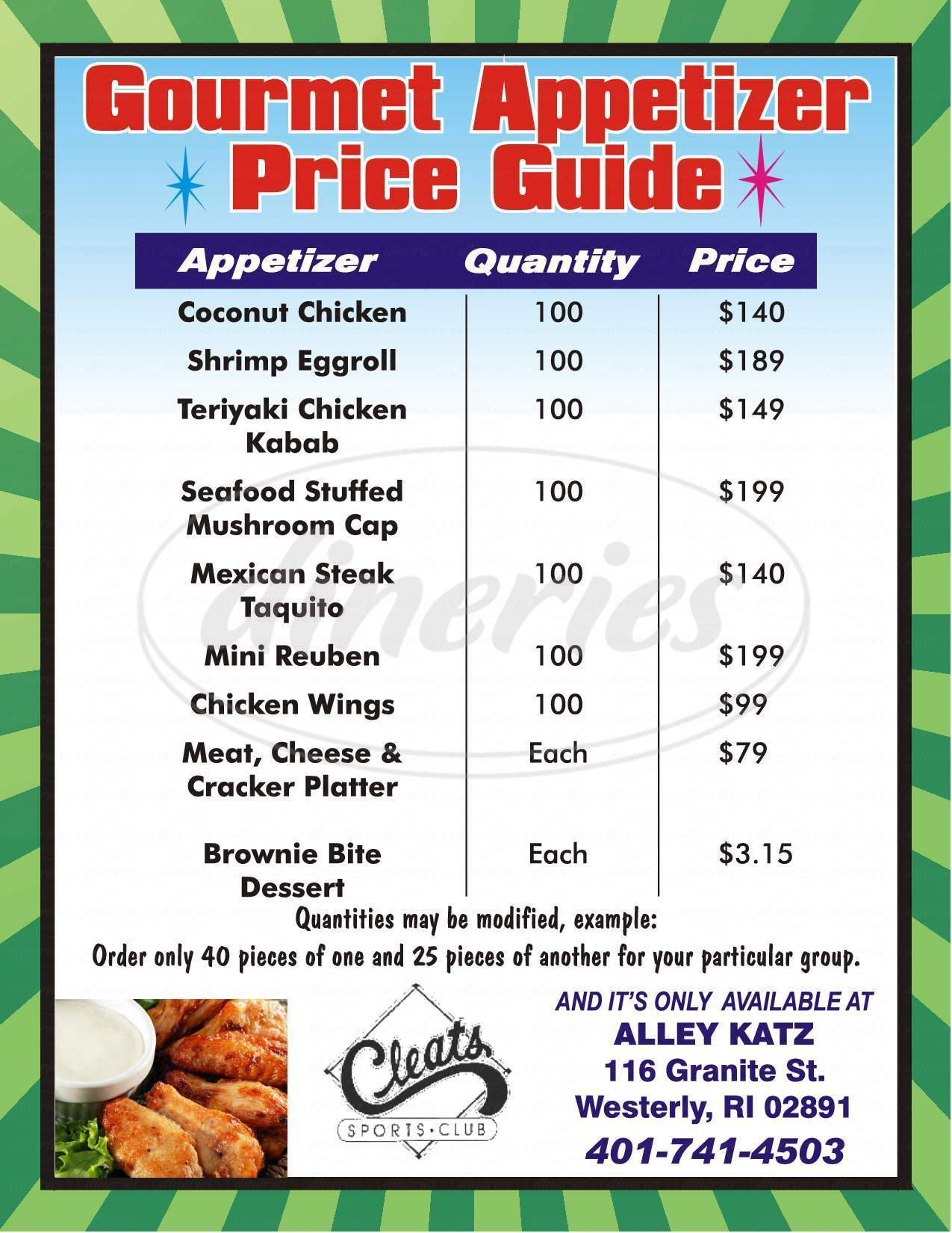 menu for Alley Katz Bowling Center